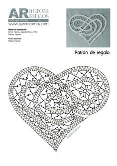 Corazón GRATIS Bobbin Lace Patterns, Bead Loom Patterns, Crochet Patterns, Crochet Edgings, Crochet Motif, Crochet Shawl, Hairpin Lace Crochet, Bruges Lace, Romanian Lace