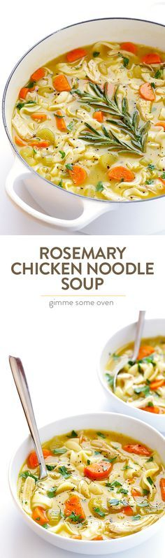 Rosemary Chicken Noodle Soup -- delicious homestyle soup, kicked up a notch with some extra rosemary and ready to go in 30 minutes! | gimmesomeoven.com