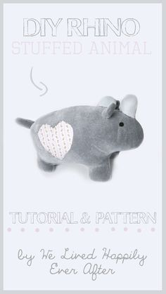 DIY Stuffed Animal Rhino Tutorial and Pattern