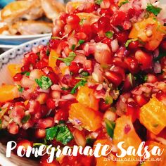 Pomegranate salsa Side dish today , March 9, 2017 So absolutely delicious. Sweet and hot at the same time , Great with white meat.