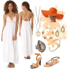 """White and Coral"" by mdcampbell on Polyvore"