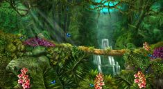 Jungle Background by crayonmaniac on DeviantArt Cartoon Trees, Enchanted Wood, Smokey The Bears, Magic Forest, Tropical Birds, Medium Art, Cool Artwork, Game Design, Trees To Plant