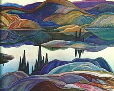 Franklin Carmichael (Canadian, 1890-1945), Mirror Lake, 1929. Watercolour over graphite on paper 51.0 x 68.7cm.McMichael Canadian Art Collection.