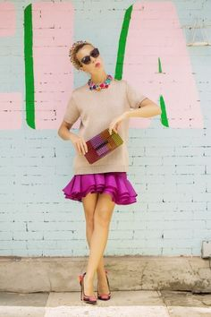 Flounce+Jewel Tones+Dazzling Jewelry= the most fun outfit you've seen in a while! Image Via: Tales of Endearment