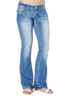 image of Embroidery Accented Flare Jean in Curvy