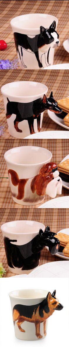 Handmade cute coffee milk mug animal Doberman pet dogs 3d Funny Birthday Gift Gift for Her Holiday Gift Christmas Gift
