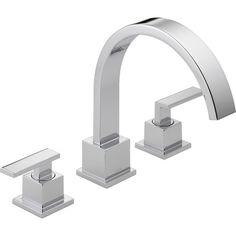 Roman Tub Faucets, Bathroom Faucets, Master Bathroom, Bathrooms, Modern Bathroom, Delta Vero, Bathtub Accessories, Brass Faucet, Delta Faucets