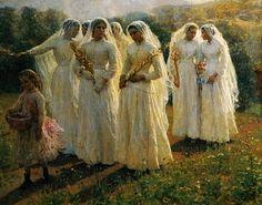 Jeunes filles se rendant à la procession Jules Breton 1888