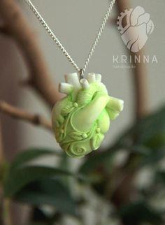 Green white heart from polymer clay by Krinna.deviantart.com on @deviantART