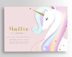 Unicornio cumpleaños invitación, invitación de unicornio, unicornio invitar, invitación fiesta de unicornio, caballo, Pony, color de rosa, brillo, arco iris