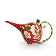 Franz PorcelainIsland Beauty hibiscus flower teapotFine Porcelain