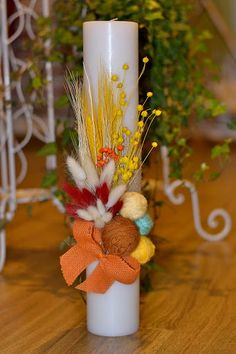 Baptism Candle, Christening, Baby Room, Projects To Try, Bouquet, Easter, Rustic, Table Decorations, Decorated Candles