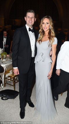 Pictured, Eric Trump with his wife Lara Yunaska, who wore a pale blue gown with peplum waist and fishtail hem Donald Trump Family, Eric Trump, Blue Gown, Professional Look, Ivanka Trump, Fashion 2017, Fashion Trends, Black Tie, Celebrity Style