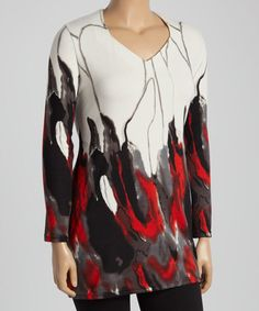 Cream & Red Abstract V-Neck Sweater Tunic - Plus #zulily #zulilyfinds