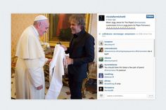 Diesel founder Renzo Rosso made recent visit to the Vatican, where he gave the Pope a pair of white Diesel jeans. At least they're white so they could possibly be shoehorned into the papal dress code. Berett L.