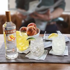 Here are three easy drinks that always stack up nicely.  Mix Smirnoff Peach with Pineapple Juice, OR Tonic, OR Lemonade, and enjoy!