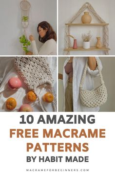 Discover 10 easy and free DIY Macrame projects by talented teacher Habit Made! From gorgeous bags to plant hangers and Macrame sandals, these fun patterns are perfect for beginners and will show you exactly how to get started with Macrame #macrame #macrameprojects #macramepatterns #macrameforbeginners @dansoliman_habitmade Macrame Supplies, Macrame Projects, Free Macrame Patterns, Cool Patterns, Macrame Cord, Macrame Bag, Macrame Plant Hangers, Macrame Design, Own Home