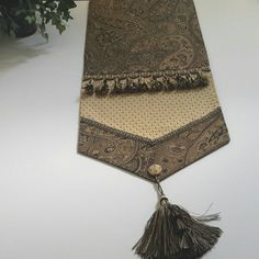 Elegant Black, Brown, Gold Woven Paisley Design Table Runner- Size 86 in x 14 in by CVDesigns on Etsy