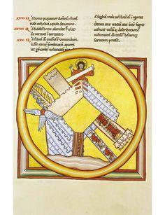 Hildegard von Bingen scivias21 Tweede visioen van het Derde Boek. Het mysterie van de Stad Gods. The edifice of the Church is built within the circle of light of divine power.