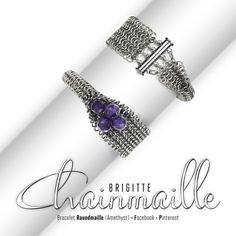 Bracelet Roundmaille Amethyst •Materials: stainless steel jump rings, rhodium plated tube slide clasp, crystal amethyst •L ±19.30cm x W 2.30cm •Weaves: graduated half persian 3 sheet 6 in 1 and graduated full persian •Weave: Roundmaille, European 4in1 •Created by Brigitte Chainmaille