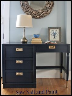 before and after mid-century desk makeover