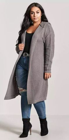 Plus Size Hooded Open-Front Cardigan #plussize