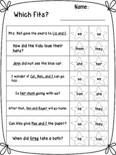 Pronoun Worksheets by Klever Kiddos Pronoun Worksheets, English Worksheets For Kids, 2nd Grade Worksheets, Reading Comprehension Worksheets, Reading Fluency, Pronoun Activities, Learning Activities, English Grammar For Kids, Learning English For Kids
