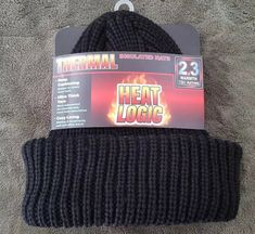 Heat Machine Thermal Chunky Knit Fleece Lined Black Hats,Grey Trim,Brushed Glove