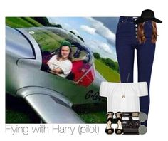 """""""Flying with Harry (pilot)"""" by hpforever00 ❤ liked on Polyvore featuring River Island, Topshop, Polaroid, Paul Andrew, Ray-Ban, Minor Obsessions, harrystyles, OTRATour and TalisLittleTag"""