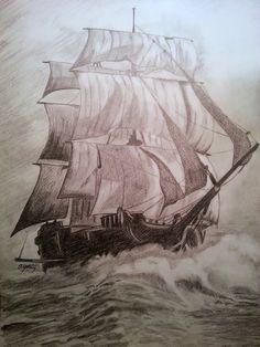 A sailing ship - Size: 35x50 cm - Drawing Technique: Graphite Pencil