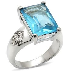 Hospitable 3.0 Carat Sterling Silver Rhodium Finish Emerald Cut Antique Style Wedding Ring Jewelry & Watches