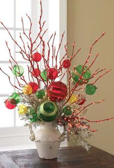 Arrangement using lighted branches. Ornament Ball Sprays can be found in the RAZ Count Down to Christmas Collection - visit www.trendytree.com to see more of the RAZ Count Down to Christmas Collection