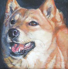 Shiba inu Painting  - Shiba inu Fine Art Print  http://fineartamerica.com/featured/shiba-inu-lee-ann-shepard.html#