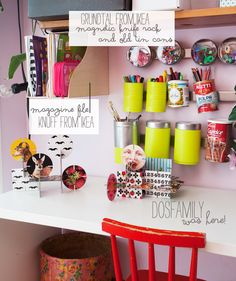 love the tin can storage - great diy inspiration / dos family