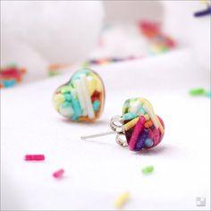 Valentines Gift - Sprinkles Heart Earrings - Resin Jewelry - Handmade - Stud Earrings