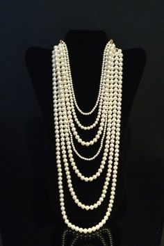 Multi Row Pearl Necklace by BlackPearlCouture on Etsy