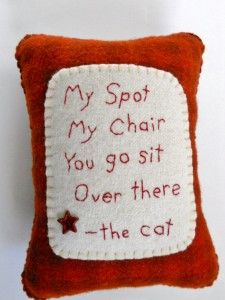 Cat pillow by Hilary Cairns of The Pineapple Cats Etsy shop.