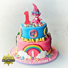Troll Cake One Layer Cakes, Baked Mac And Cheese Recipe, Fondant Figures, Troll, Birthday Cake, Candles, Baking, Desserts, Recipes