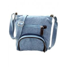 AdoreWe - Dresslink Light blue Canvas Front Pocket Crossbody Bags - AdoreWe.com