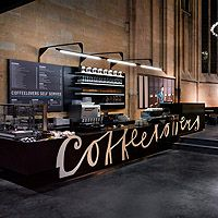 cafe counter- i like the words on the bar, simple effective