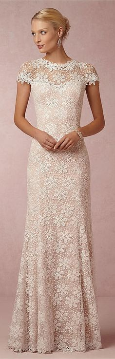 This BHLDN Nova Lace Gown features the cap sleeves of our bridal dreams!