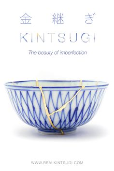 """Kintsugi in Japanese literally means """"fixing with gold"""" and it represents the beauty of imperfections. Kintsugi is the idea of embracing the flaws and imperfections of something that was once broken to get an even stronger and more precious piece of art. Kintsugi represents the strength and effort behind every single scar and the ability to recover from a trauma into a new form that is even stronger and more precious than before. Find more about Kintsugi on RealKintsugi Kintsugi, Japanese Pottery, Trauma, Effort, Restoration, Im Not Perfect, Art Pieces, Strength, Flaws"""