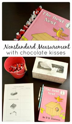 Practice nonstandard measurement by measuring length with chocolate kisses. Includes free printable Valentine's Day activity for preschool and kindergarten School Age Activities, Kindergarten Math Activities, Preschool Special Education, Valentines Day Activities, Homeschool Math, Educational Activities, Valentine Crafts, Literacy, April Preschool