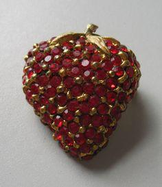 Vintage Red Rhinestone Strawberry Brooch Free Shipping