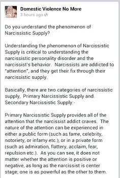 Narcissistic supply 1/3 A Recovery from Narcissistic sociopath relationship abuse