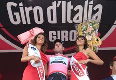To the victor the spoils.  Cav in the first Maglia Rosa of Giro 2013