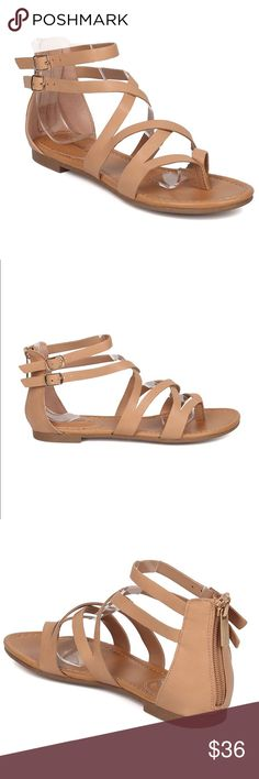 Beige Strappy Flat Sandals A spring/summer wardrobe staple. A timeless natural Beige color that matches anything! Fits true to size. Super comfy and chic. Flat Bchic Shoes Flats & Loafers