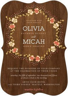 Retro Wreath Wedding Invitation