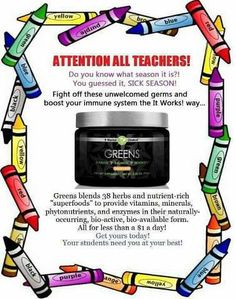 Stay Healthy #Teachers Back TO School brittlee1313@yahoo.com https://www.facebook.com/pages/It-Works-by-Brittany/855278084543487