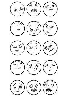 Malvorlage Gesichtsausdrücke. Bilder für Schule und Unterricht: Gesichtsausdrücke - Ausmalbild - Bild zum Ausmalen - Zeichnung. Abb. 8896.